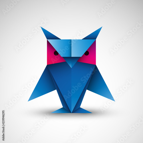 sowa origami logo wektor #239946295