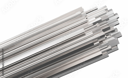 Fotografía Steel rods of different types, isolated on white background