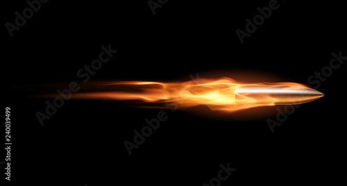 Fotografie, Obraz Bullet with flame trail