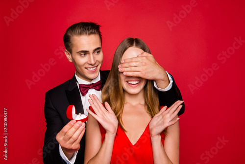 Obraz na plátne Portrait of his he her she two nice guy closing lady's eyes attr