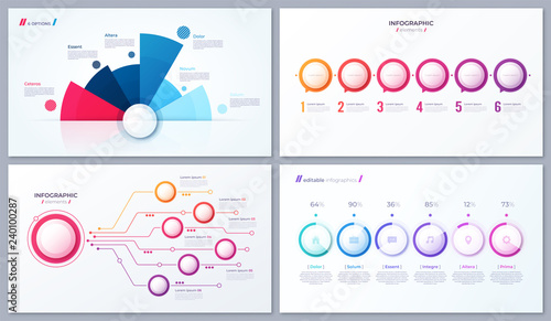 Canvas Print Set of vector 6 options infographic designs, templates for web,