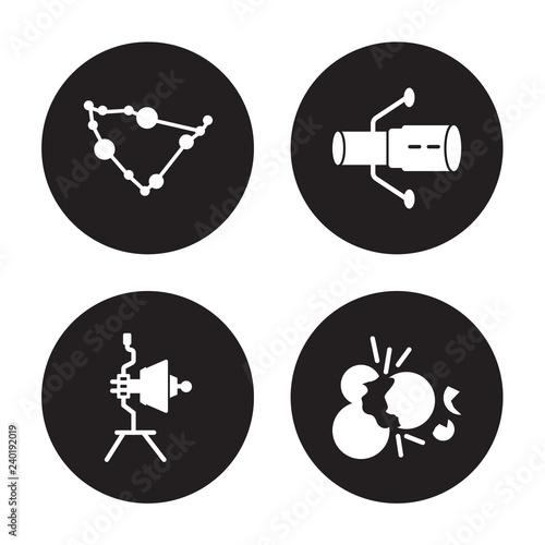 Fototapeta 4 vector icon set : Capricorn, Voyager, Hubble space telescope, Big bang isolate