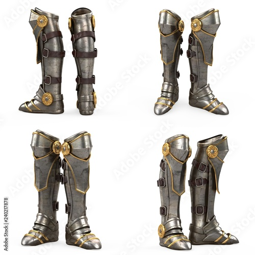 Wallpaper Mural Iron fantasy high boots knight armor isolated on white background