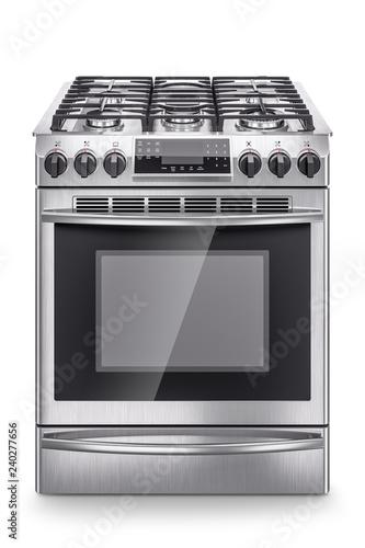Slika na platnu Stainless steel domestic gas stove isolated on white background