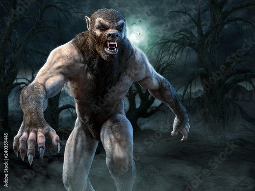 Photo Werewolf scene 3D illustration