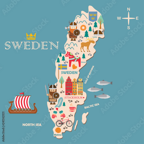 Canvas Print Sweden symbols map with tourist attractions