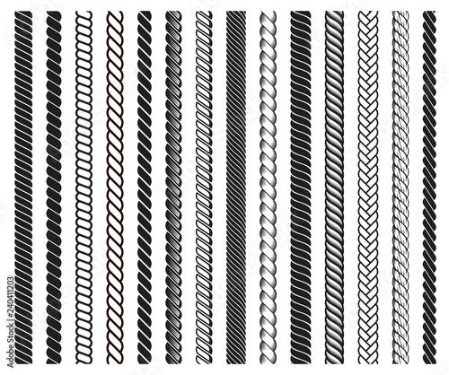 Fotografía Rope brushes frame, decorative black line set
