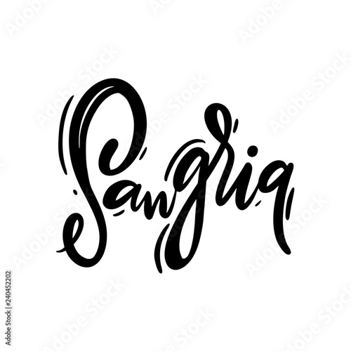 Sangria hand drawn vector lettering Fototapeta