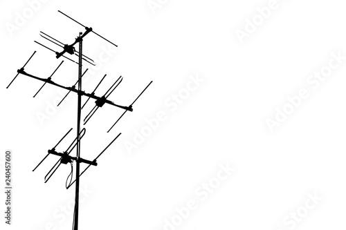 Billede på lærred old televisions antenna isolated on white background