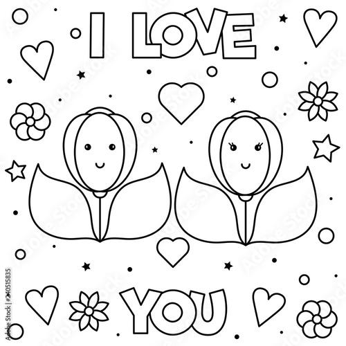 Fototapeta premium Kocham Cię. Kolorowanka. Ilustracja wektorowa czarno-biały.
