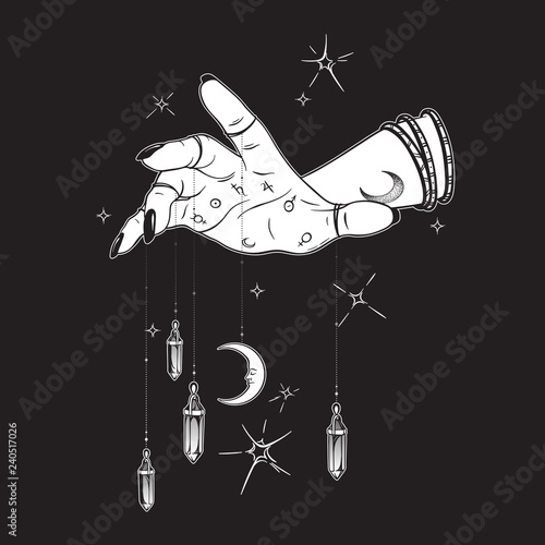 Fotografie, Obraz Female hand with gem pendants and moon hand drawn vector illustration