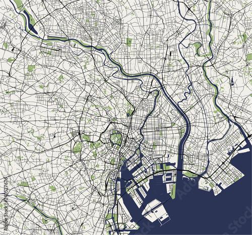 Obraz na plátně map of the city of Tokyo, Kanto, Island Honshu, Japan
