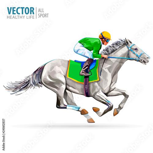 Jockey on racing horse Fototapet