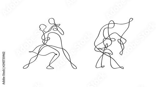 Stampa su Tela tańcząca para szkic wektor