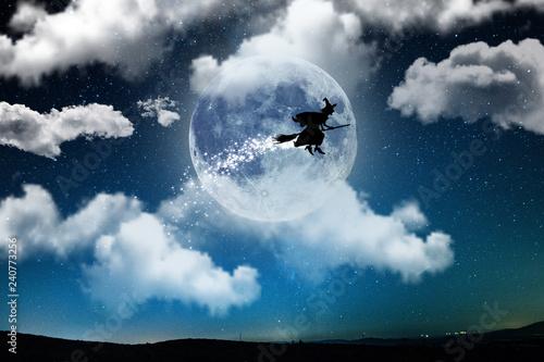 Canvastavla la befana in volo di notte con la luna di sfondo