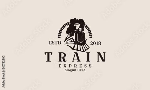 Photo Locomotive logo illustration, vintage style emblem - Vector