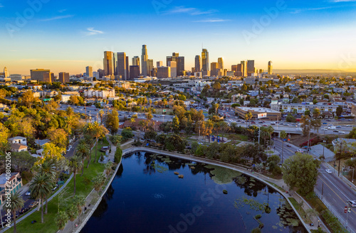 Fotografie, Obraz Beautiful aerial view of downtown Los Angeles skyline with skyscrapers and freeway traffic below