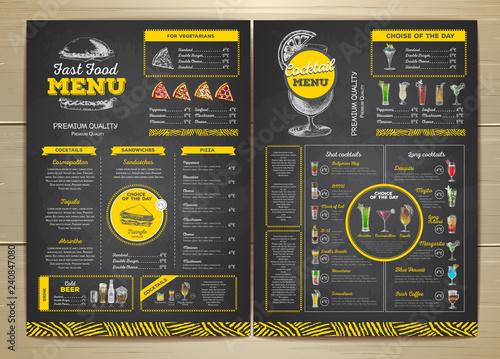 Stampa su Tela Vintage chalk drawing fast food menu design. Cocktail.menu