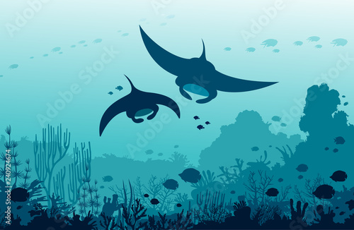 Canvas Print Two mantas, coral reef and fishes on a sea. Underwater ocean.