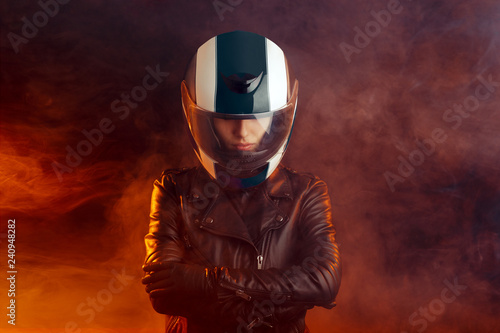 Fotografie, Obraz Biker Woman with Helmet and Leather Outfit Portrait