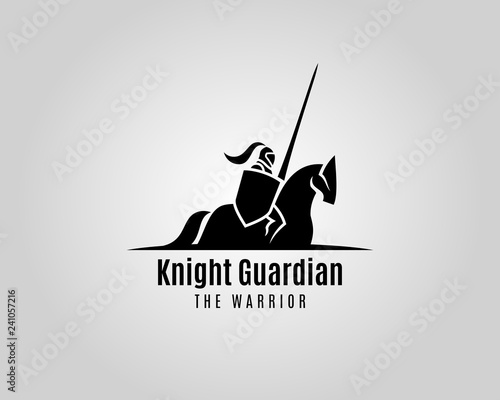 Canvas Knight with shield and spear on a horse