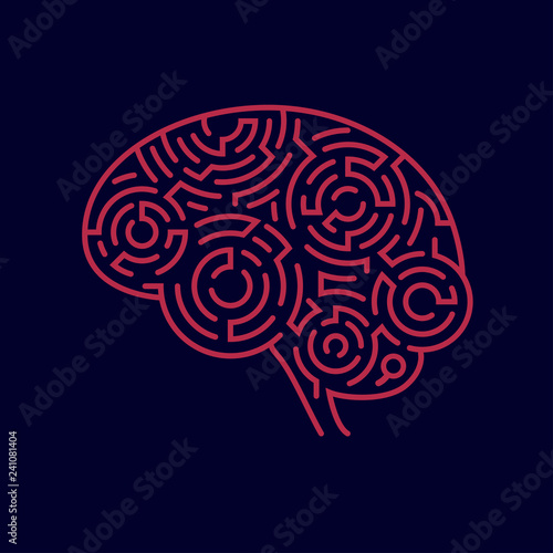 Obraz na płótnie concept of creative thinking, shape of human brain combined with maze pattern