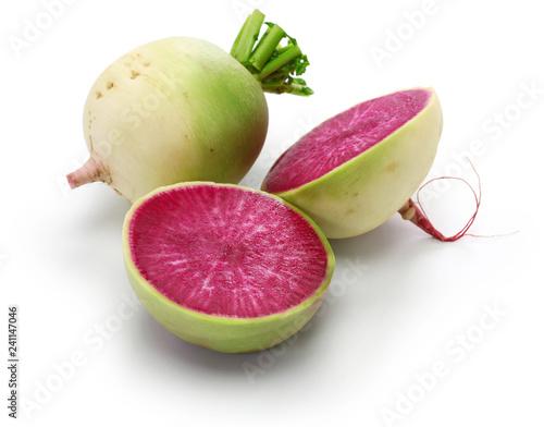 watermelon radish isolated on white background