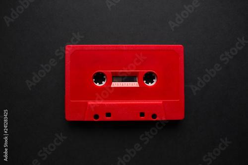 Fotografie, Obraz Close-up of audio cassette illustration with blank mockup for design