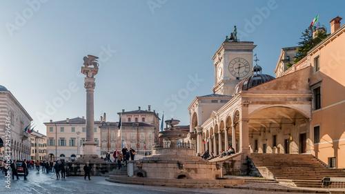 Canvas Print Beautiful view of Piazza Libertà with the Carrara fountain, Udine, Friuli Venezi