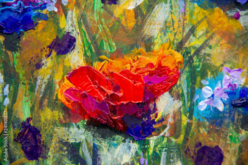 painting flower modern colorful wild flowers canvas abstract close paint impasto oil - Impressionism modern oil paintings fragment  art floral palette knife macro