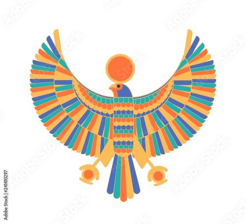 Canvas Print Ra - god, creator, deity or mythological creature depicted as falcon and sun dis