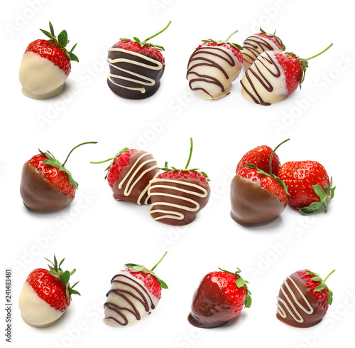 Set with chocolate covered strawberries on white background