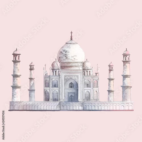 Obraz na płótnie The Taj Mahal in Agra, India watercolor illustration