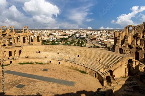 El Jem amphitheater in Tunisia. Fototapeta