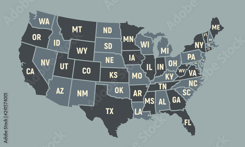 Photo United States of America map with short state names