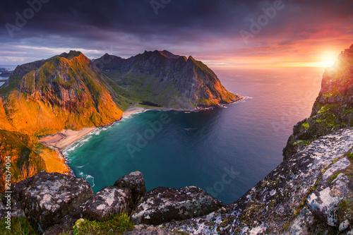 Fototapeta premium Seascape wyspy Lofoty
