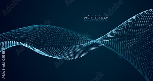 Fotografie, Obraz Dynamic particles sound wave flowing over dark