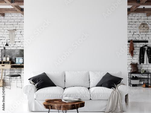 Living room interior. Wall mockup. Wall art. 3d rendering