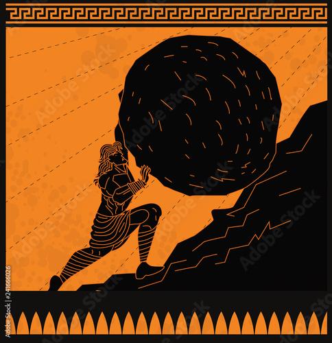 Fotografie, Obraz Sisyphus greek myth rolling a rock in a mountain