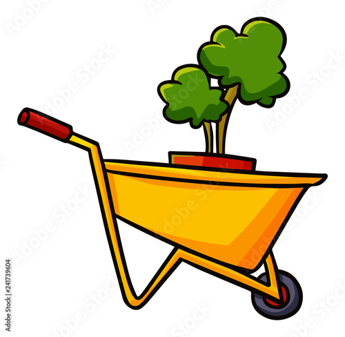 Obraz na płótnie Cute and funny Trolley with pot of a plant in it - vector