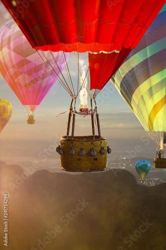 Empty basket hot air balloon beautiful background Fototapet