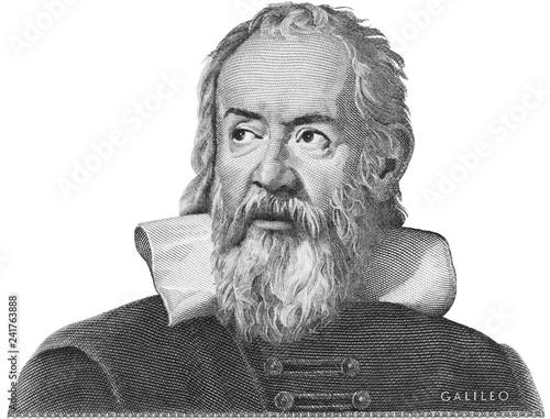 Leinwand Poster Galileo Galilei etching on Italy money