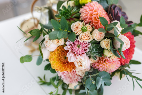 Leinwand Poster bright wedding bouquet of summer dahlias and roses