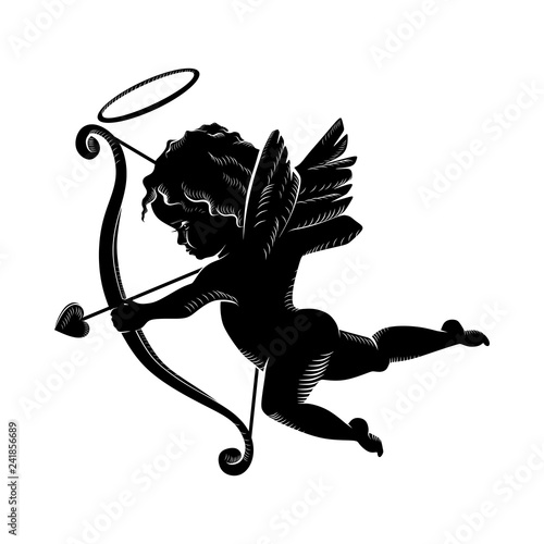 Murais de parede Silhouette of an angel, Cupid cherub with a bow and arrows, isolated image