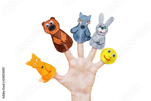Obraz na plátně Isolated woman's hands with finger puppet