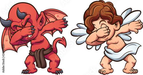 Canvas-taulu Dabbing angel and devil