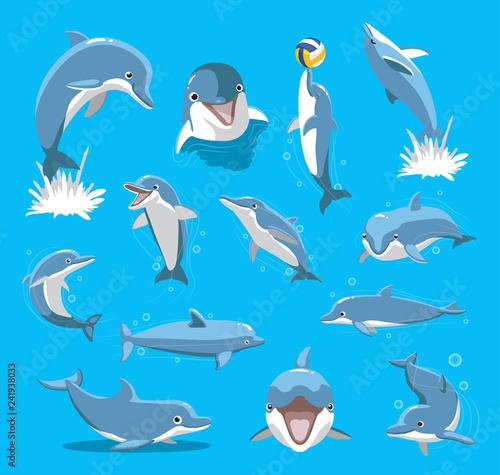 Cuadros en Lienzo Bottlenose Dolphin Ball Cute Cartoon Vector Illustration