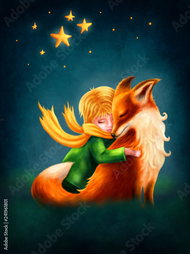 Fototapeta Little Boy and Fox