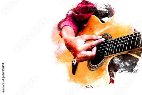 Fotografia Close up beautiful woman playing acoustic guitar on walking street on watercolor painting background