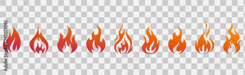 Fotografie, Obraz Fire flames. Fire icon set. Fire symbols. Vector illustration.